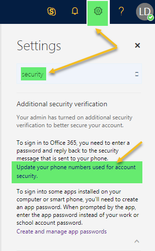 update 2fa account settings
