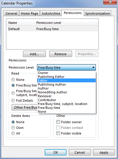Outlook Permissions Dialog