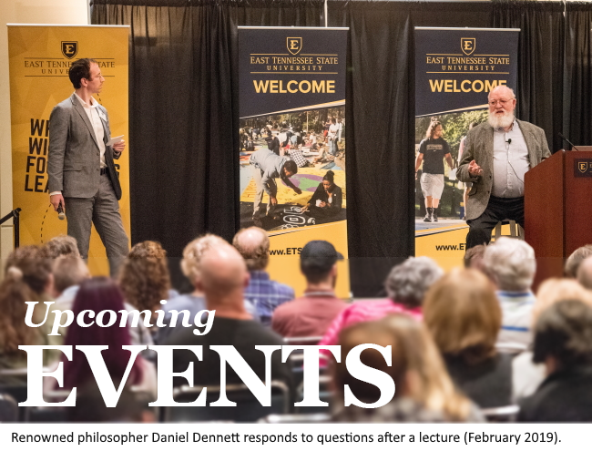 Photo from Daniel Dennett lecture and link to Events page