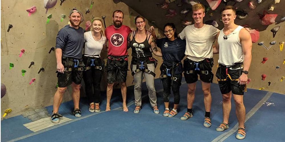 Intern Team Building Rock Climbing
