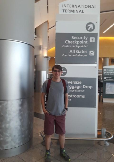 Garrett Jones in front of international terminal