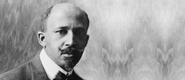 W.E.B. Du Bois on a gray background