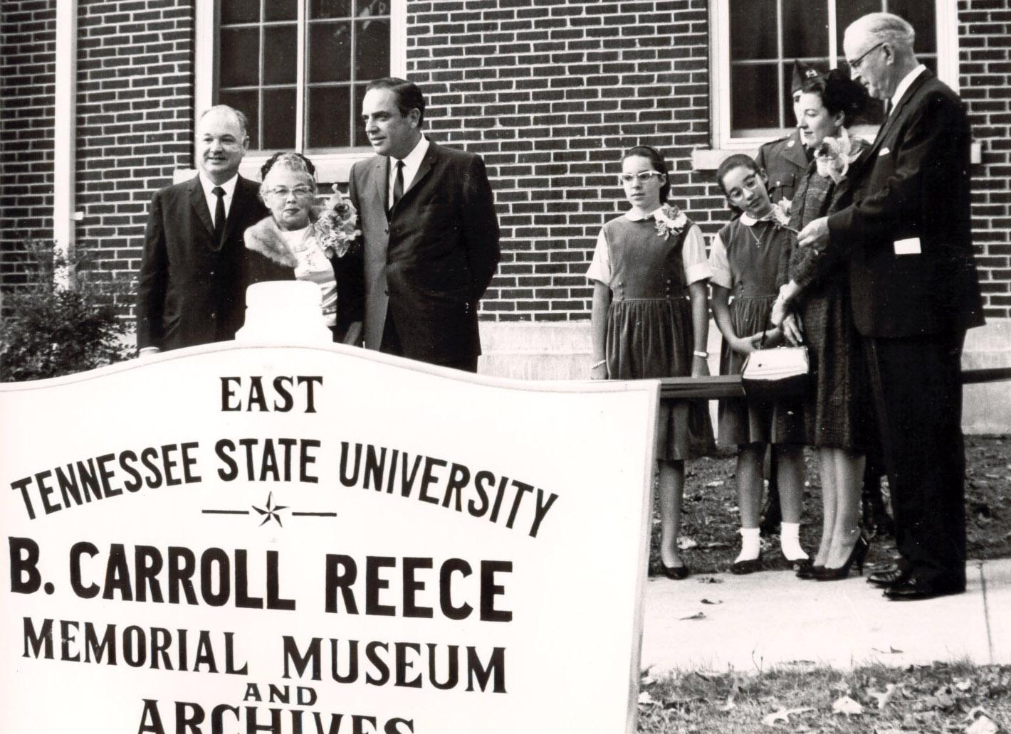 "Formally dedicated on October 10, 1965, the B. Carroll Reece Memorial Museum was established as a tribute to the memory of First District Congressman B. Carroll Reece as a ""storehouse of knowledge ... for the use of the university's students and the citizens of the state.""  This image captures the ribbon cutting ceremony."