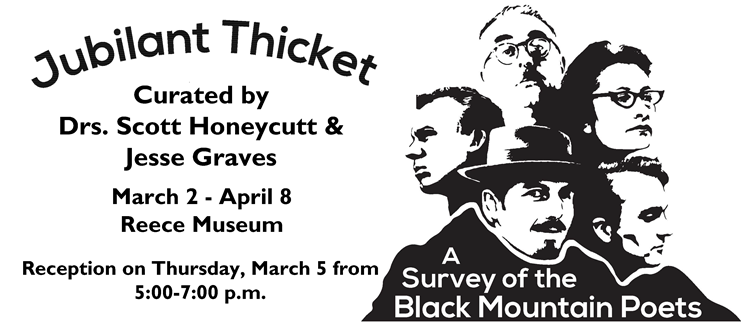 Graphic of the Black Mountain Poets with event information.