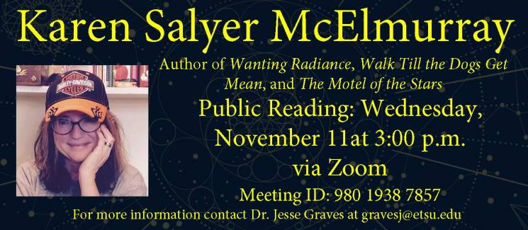 Photo of Karen Salyer McElmurray on the left with event information on the right.