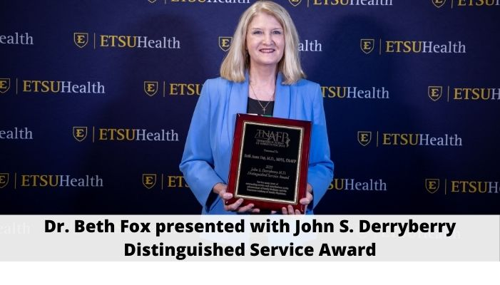 Dr. Beth Fox presented with John S. Derryberry Distinguished Service Award