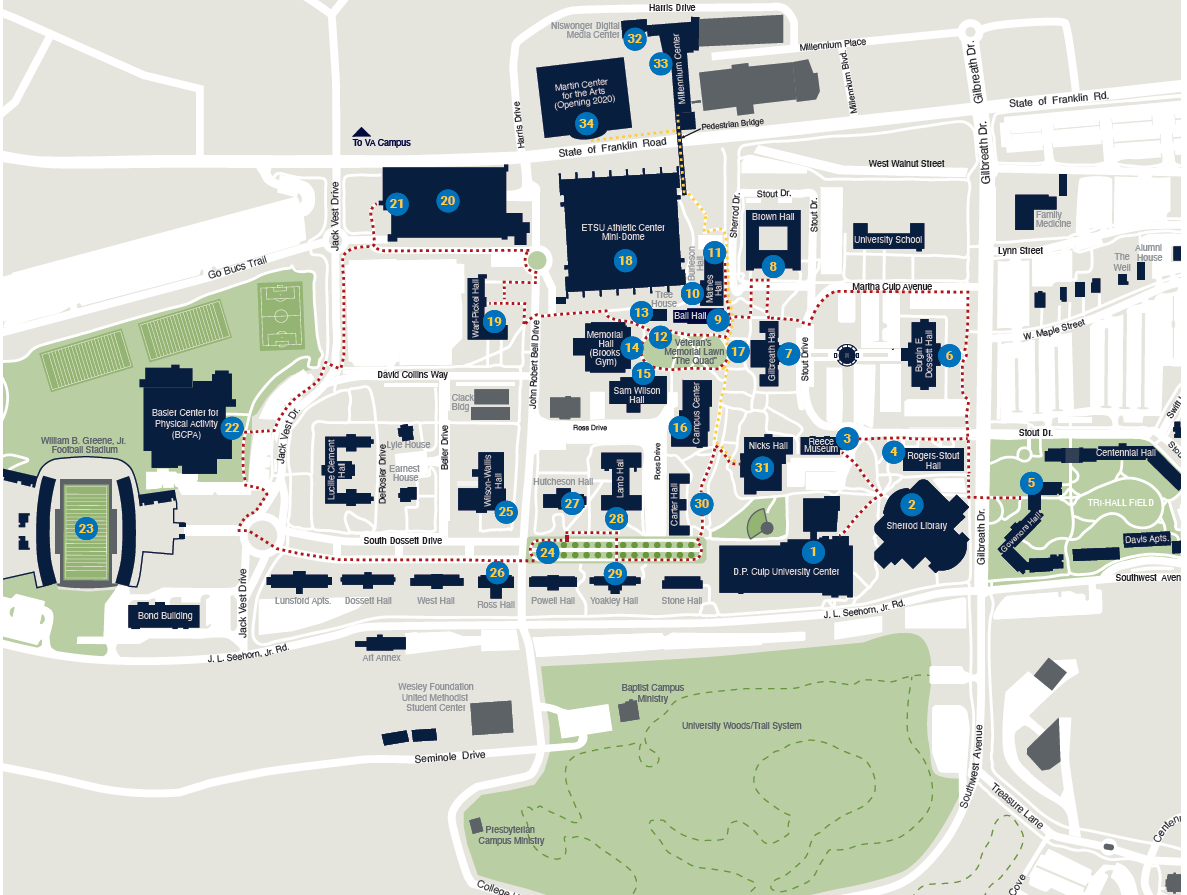 ETSU Campus Map