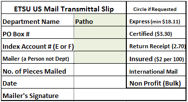 Example Mail Transmittal Slip, which can be downloaded before as an excel file.