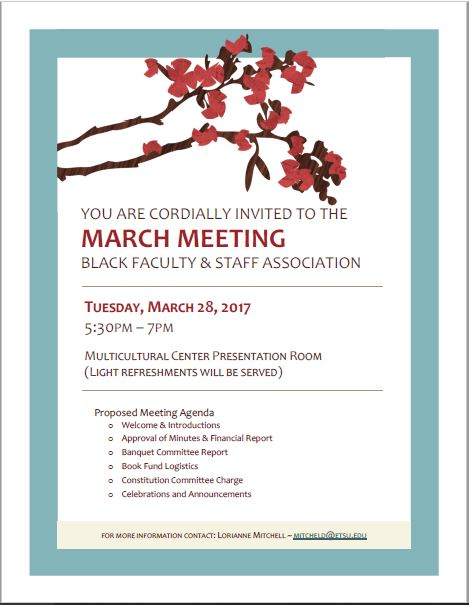 March 2017 Meeting Announcement