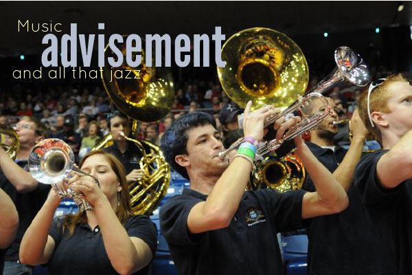 Brass band playing at basketball game with caption: Music advisement and all that jazz