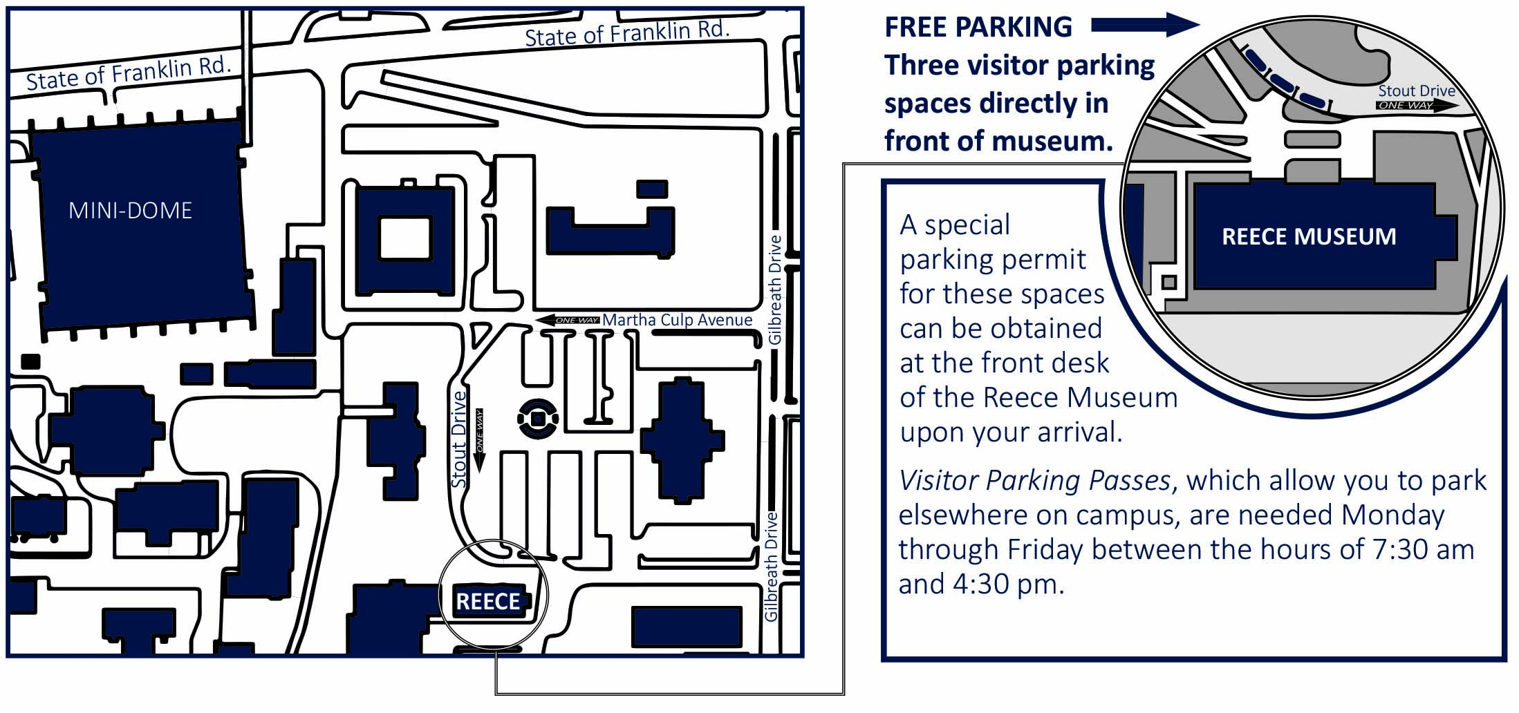 Reece museum parking map and info