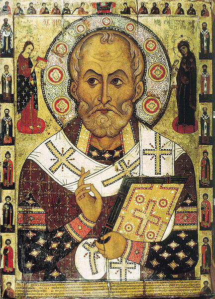 St. Nikolas icon from the Lipnya Church of St. Nicholas in Novgorod.  Public domain image.