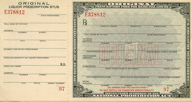 Prohibition Era Government Prescription form for Medicinal Liquor.  Public Domain Image.