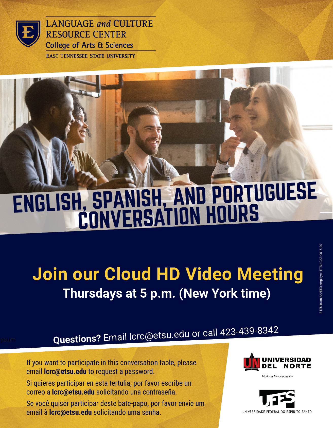 English, Spanish, and Portuguese Conversation Hours