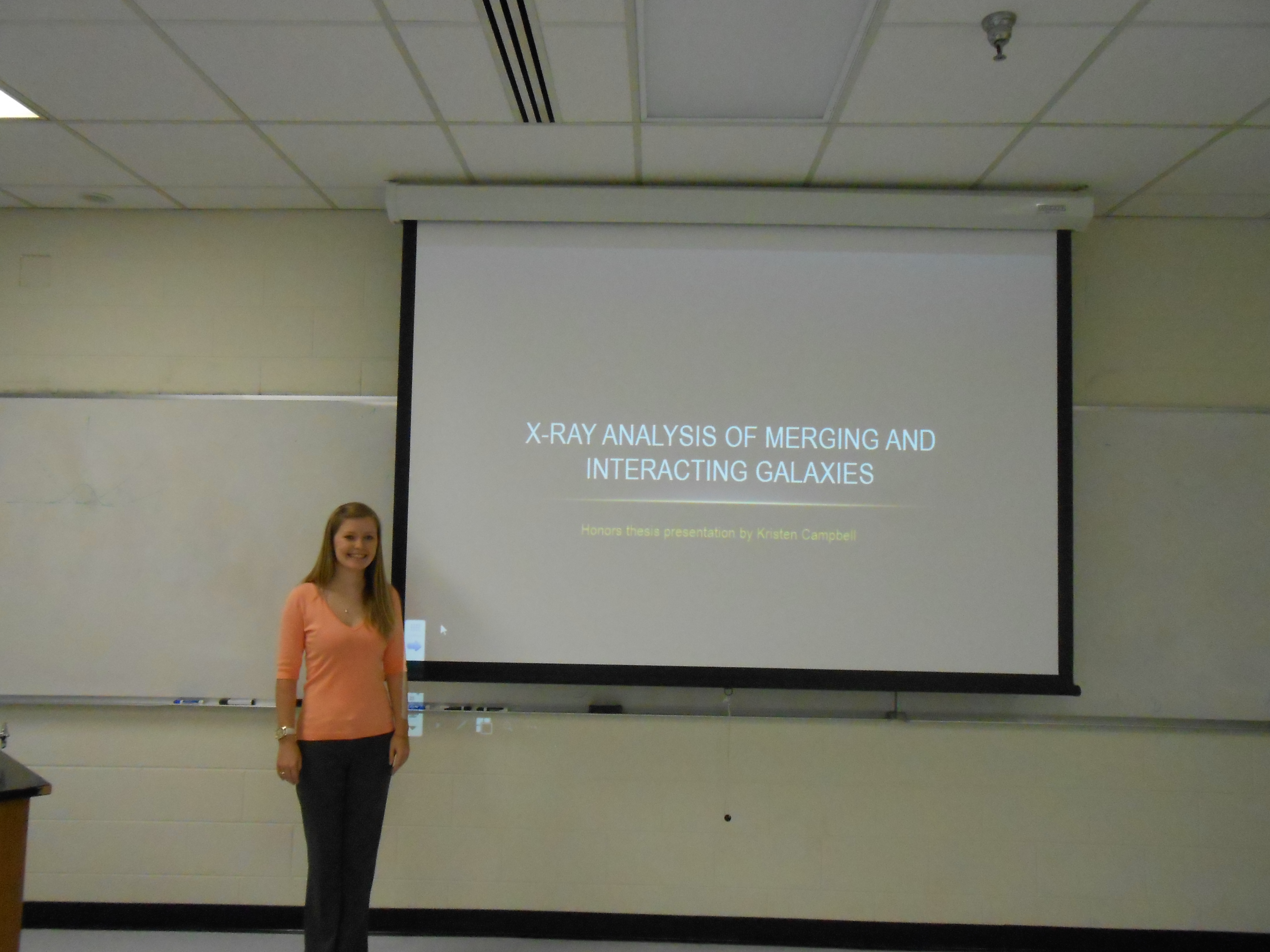 Photo for Three physics majors gave talks in the Department on their Honors theses
