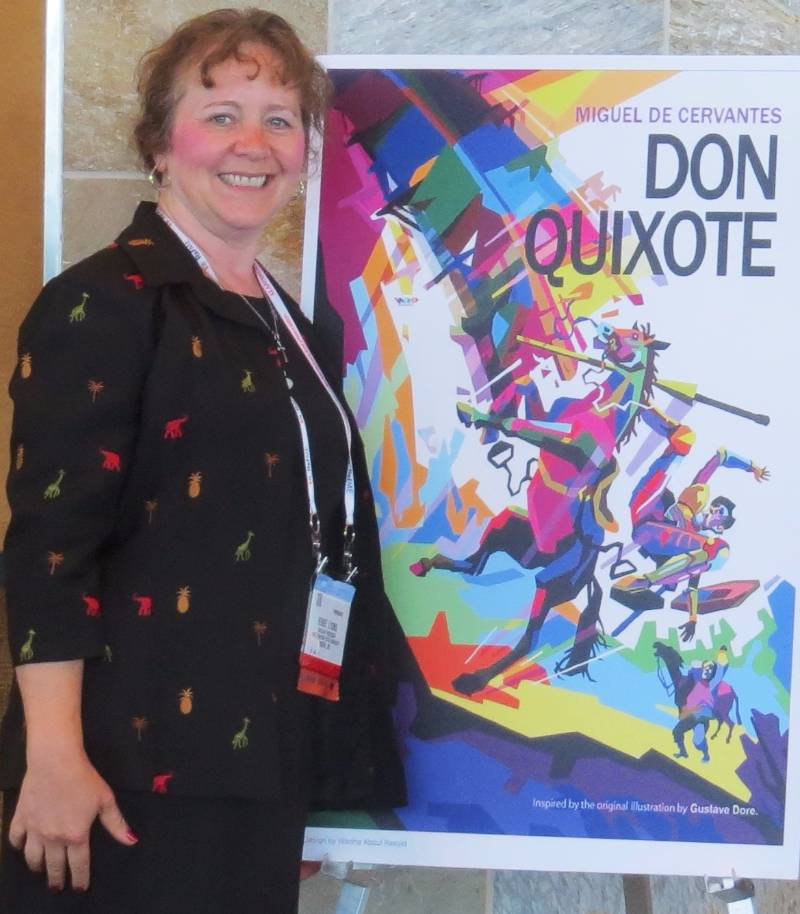 renee lyons with don quixote poster