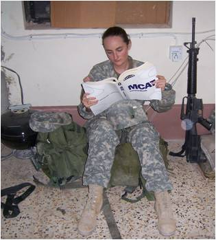 Med student Chriss OHara studying for MCAT while on active duty in Iraq