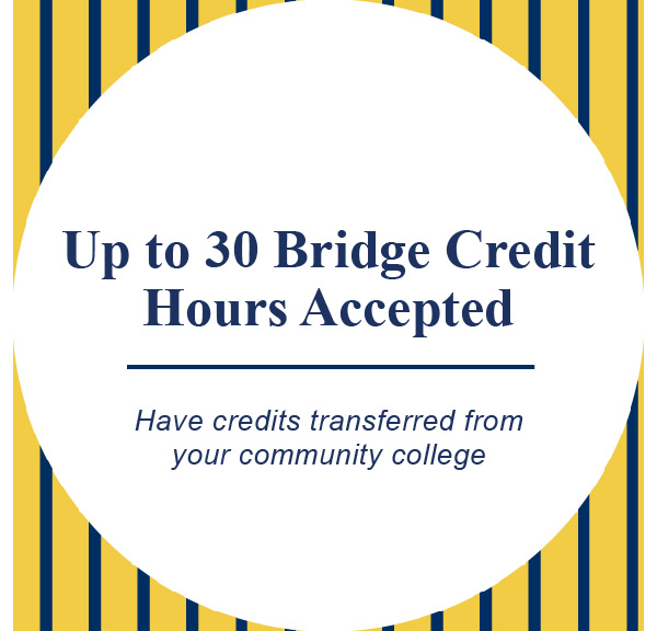 Up to 30 bridge credit hours accepted. Have credits transfered from your community college.