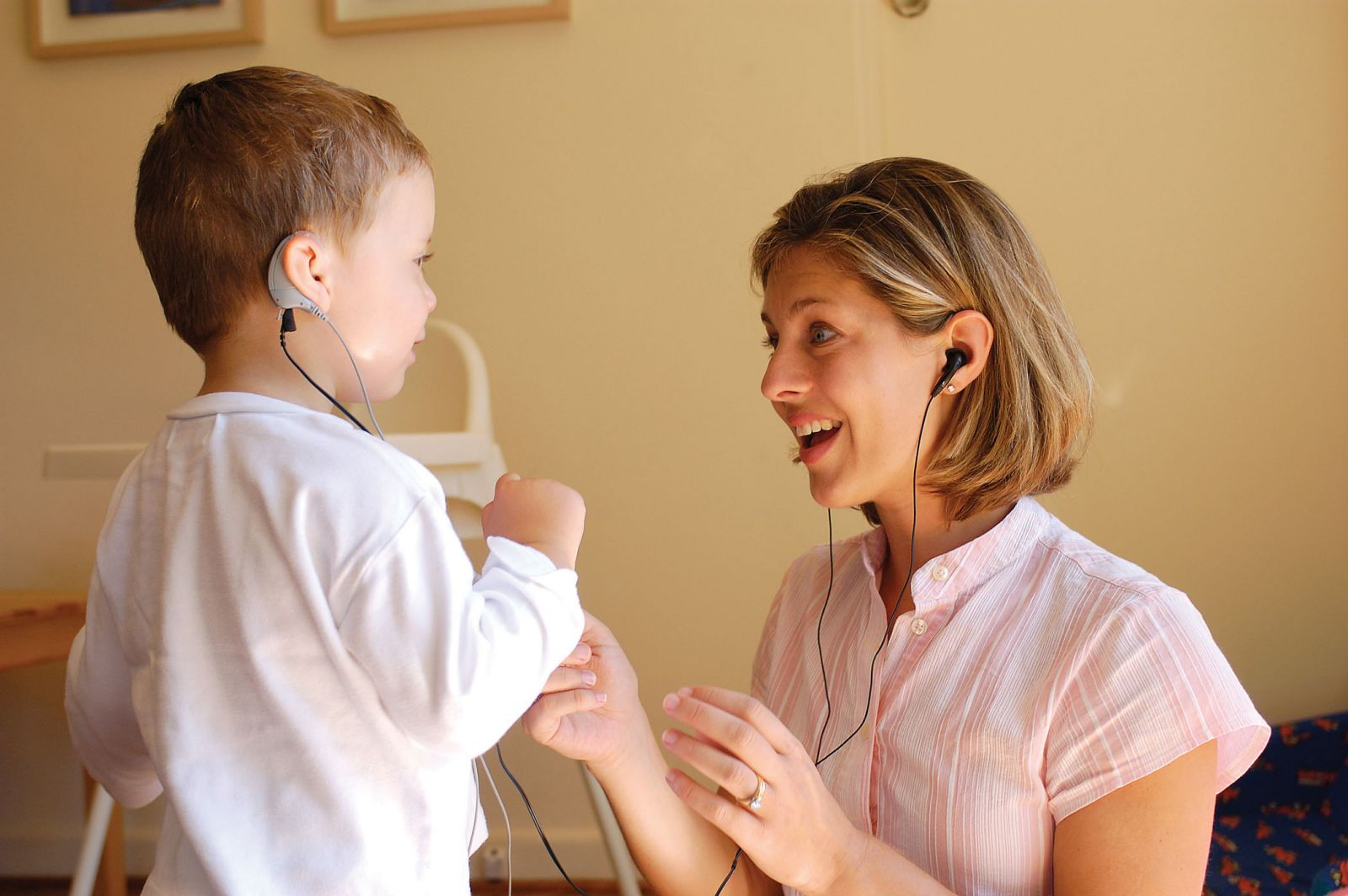 child receiving cochlear implants