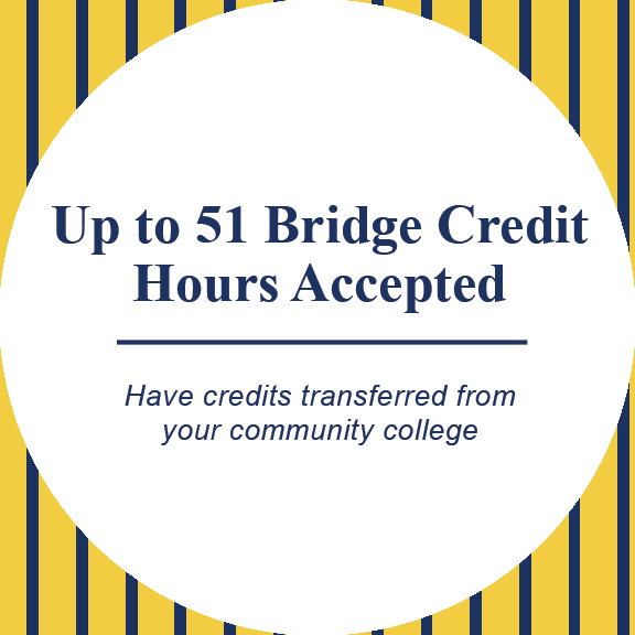 up to 51 bridge credits accepted. have your credits transfered from a community college
