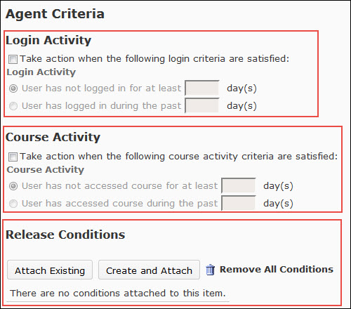 image of the agent criteria options of an intelligent agent (login activity, course activity, release conditions)