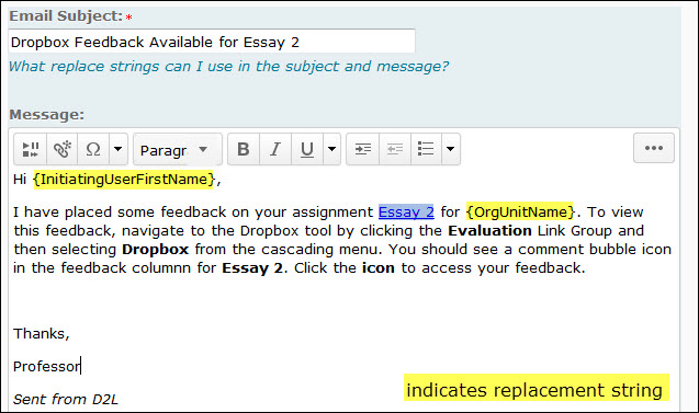 example of an email message using replacement strings.