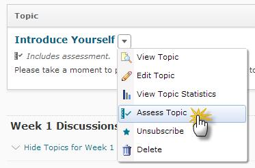 Image of the topic context menu (view topic, edit topic, view topic statistics, assess topic, unsubscribe, and delete)