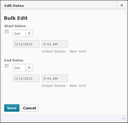 Image of the bulk edit dates popup