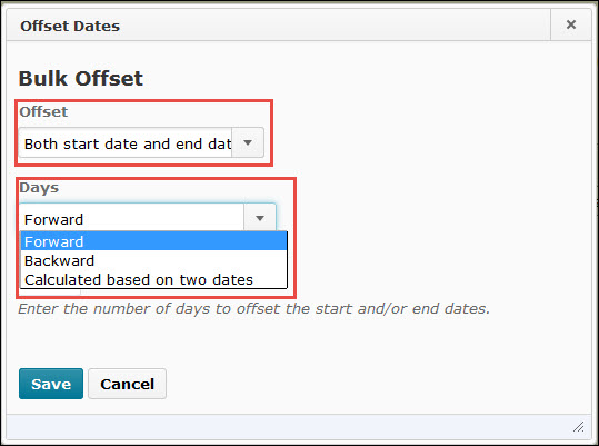 Image of the bulk offset dates popup