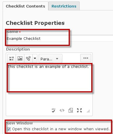 Image of the checklist properties page with the following fields: name, description, and new window options