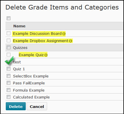 Image of the Delete Grade Items and Categories with a grade item marked for deletion and three grade items with associations highlighted.