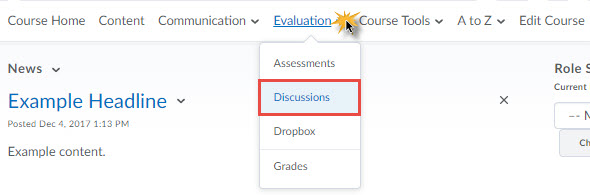 image of the discussions tool in the default course nav bar
