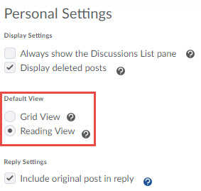 image of the settings link on the discussions list page