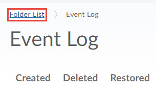 Image of the breadcrumb trail on the event log page