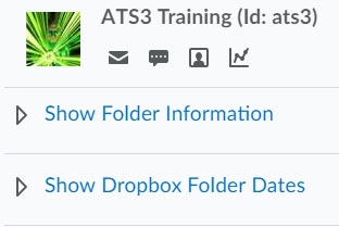 Image of the show folder information and show dropbox folder dates hyperlinks