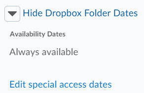 Image of the expanded show dropbox folder dates section with hyperlinks to edit special access to the folder.