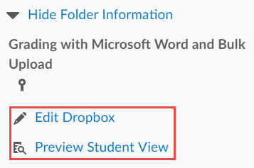 Image of the expanded show folder information section with hyperlinks to edit dropbox and student preview