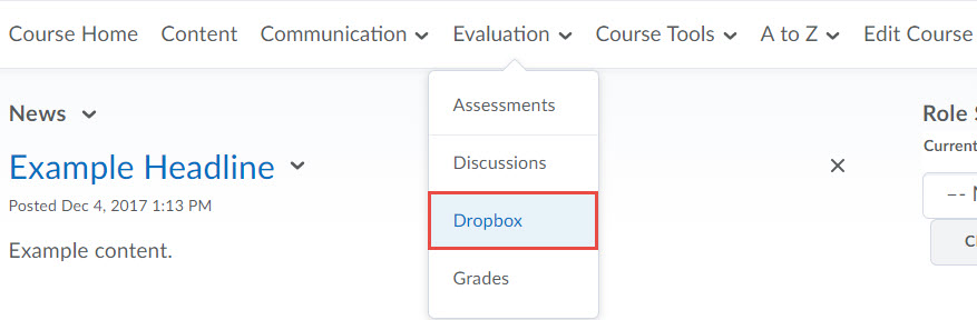 Image of the default course nav bar with the evaluation menu expanded and dropbox selected