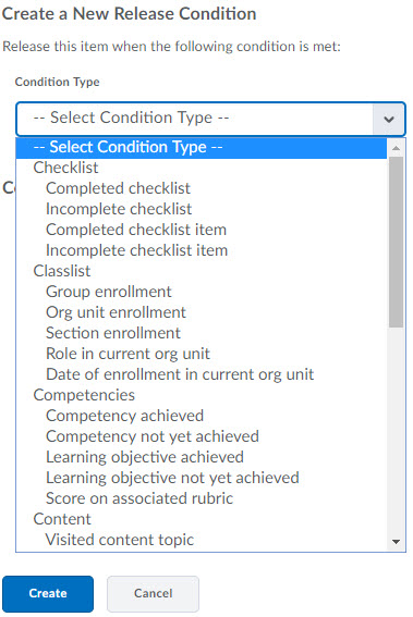 image of the release conditions condtion types