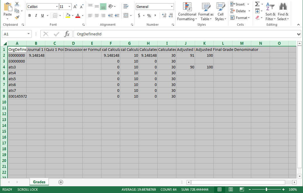 Image of an excel export