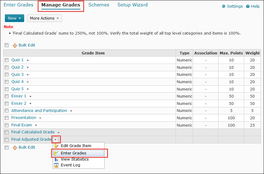 Image of the Manage Grades screen with the final adjusted Grade item context menu expanded and Enter Grades selected.