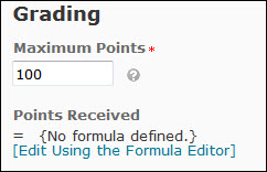 Image of the grading options for a formula grade item (Maximum points and formula editor hyperlink)