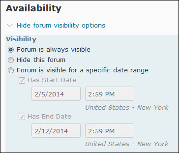 Visibility Options of a Forum