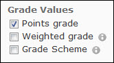 Image of the Grade Values options on the export screen.