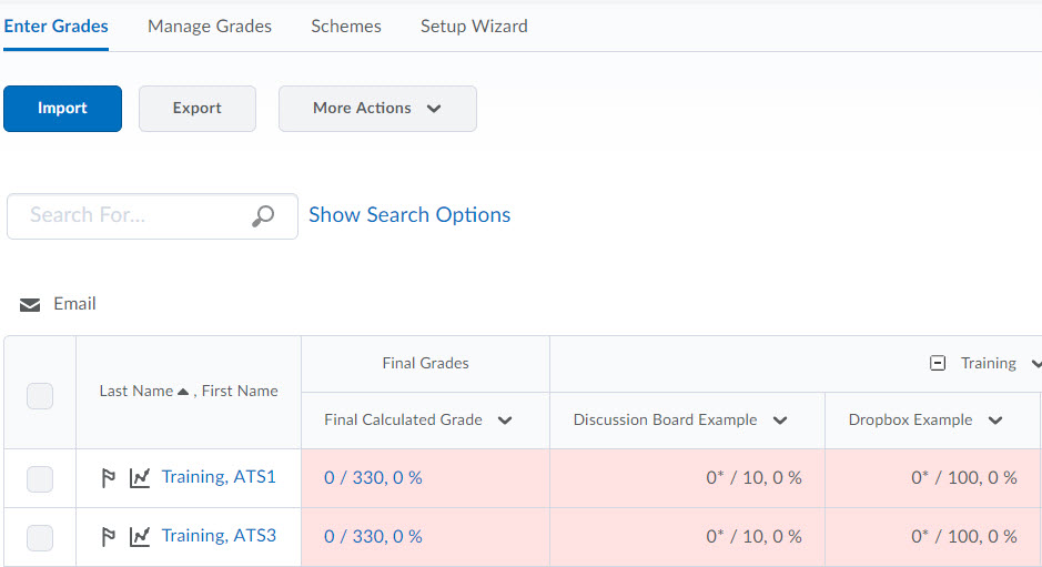 Image of the Enter Grades screen of the gradebook