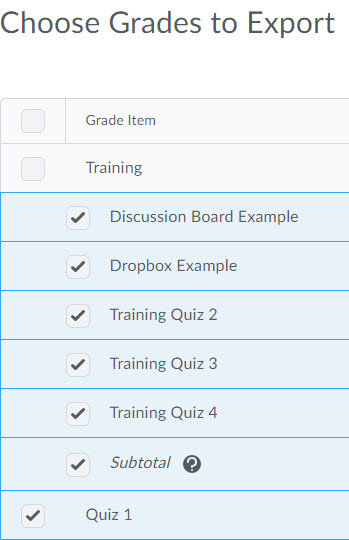 Image of the grade items table on the export gradebok page