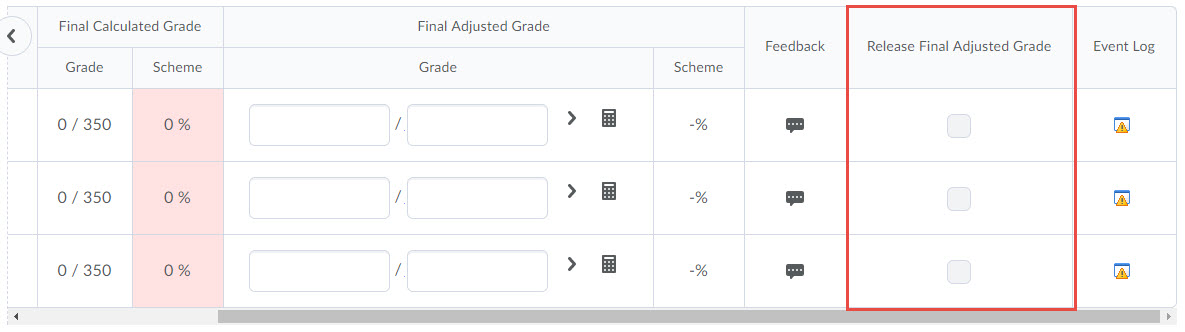 Image of the calculated grades transferred over and the numerators highlighted. The release column is also marked to show that grades are unreleased.