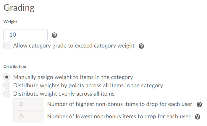 Image of the category grading options for a weighted category.