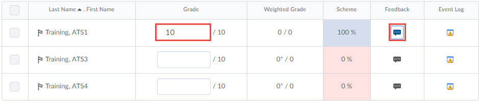 image of a numeric grade item open for grading with the grade column and feedback icons highlighted.