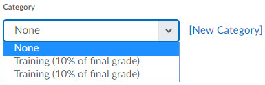 Image of the Category dropdown on the new grade item page